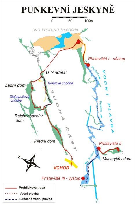Mapa Punkevních jeskyní
